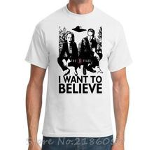 X Files I Want To Believe New Fashion Men's T-shirts Short Sleeve Tshirt Cotton T Shirts Man Clothing(China)