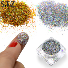 STZ 1g Nail Art Powder Dust Mixed Acrylic Hexagonal Sequin Glitter Tips Designs Nail Decorations Nail Pigment Retail Bottle 015T