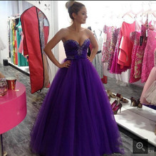 2017 Purple Rhinestones Beading Prom Dresses Sweetheart Neckline A Line Formal long prom Gown best selling