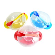 New Baby Kids Sucker Bowl Non-Slip Anti-Drop Super Strong Suctionspoon) Bowl Baby Training Bowl Set (Bowl + Cover + Spoon)
