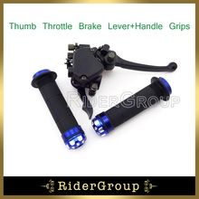 "Blue 7/8"" 22mm ATV Handle Grips Thumb Throttle Brake Lever Accelerator Assembly For 125cc 150cc 200cc 250cc Quad Chinese(China)"