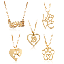 I Love Paw Necklace Gold Silver Chain Hollow Dog paw claw Heart Pendant Necklace Cat Kitty Puppy Suspend Pet Animal Jewelry Gift