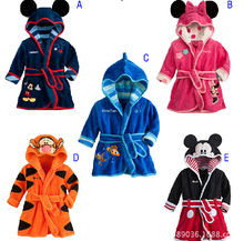 2017 New Children Pajamas Robe Kids clothes boys girls Nightwear Bathrobes Baby Cartoon Home Wear baby clothing Retail(China)