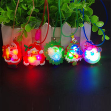 12pcs Sale Led Dance Christmas Santa Claus Light Up Led Necklace Glowing Flashing Pendant Toys Party Xmas Gift For Kid(China)