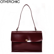 OTHERCHIC Burgundy Vintage Women Shoulder Bags Solid Big Soft All Match Brand Designer Handbag Fashion Women Briefcase L-7N08-58(China)