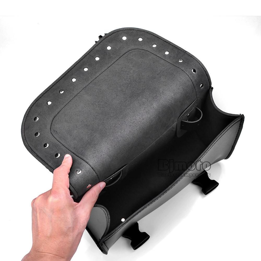 Black Motorcycle Saddlebag Bag PU Leather Luggage Saddle Bags For Harley Sportster Pannier Side Saddle Bag (3)