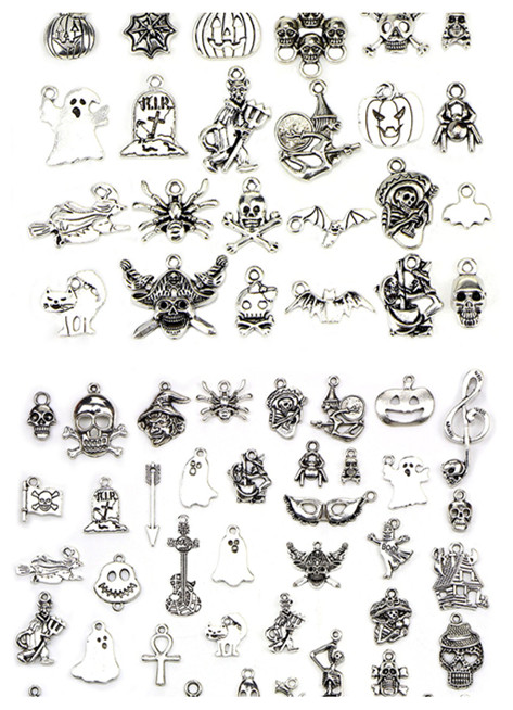 10/20/30/50pcs Christmas Antique Silver Plated Charms Pendants Jewelry Making Accessories Halloween Charm Fit Bracelet