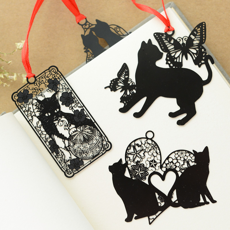 Lovely Cute Kawaii Metal Bookmark Black Cat Book Holder for Book Paper Creative Gift Korean Stationery Office school supplies