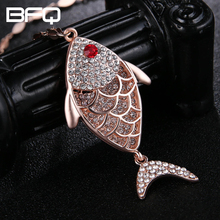 BFQ Big Pendant Charm Necklace Crystal Fish Long Necklace Trendy Jewelry Rose Chains Color For Women Wholesale Price(China)