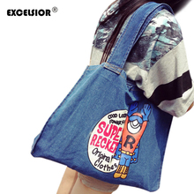 EXCELSIOR Brand Design Cartoon Superman Women Shopping Bag Denim Tote Jean Canvas One Shoulder Handbags Lady Girl Zipper Bag(China)