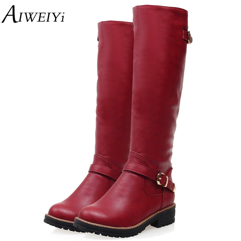 AIWEIYi Winter Boots 2017 Fashion Knee High Boots Women PU Leather Boots Buckle Zipper Low Heel Platform Shoes Woman Long Boots<br>