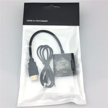 HDMI TO VGA With Audio Cable Gold Plated High-Speed 1080P HDMI to VGA Converter Adapter Male to Female For PC Laptop