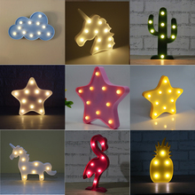 Lumiparty 3D Cute Small LED Night Light Bedroom Unicorn Cloud Moon Star Heart Home Decor Battery Powered Wall Lamp