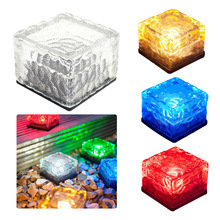 Manufacturers wholesale new solar glass ice blocks light Yard buried lights Colorful lawn lamp solar energy