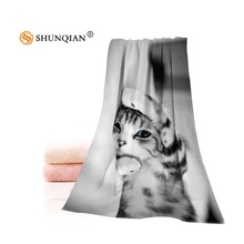 Custom cat Towels Microfiber Fabric Popular Face Towel/Bath Towel Size 35x75cm, 70x140cm Print your picture(China)