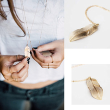 Gold Long Pendant Necklace Fine feather necklace For Women Charm necklaceXL427