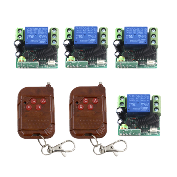 Free shipping 12V 10A 1ch door access Auto control rf wireless remote control switch system 4 receiver &amp; 2 transmitter SKU: 5425<br><br>Aliexpress