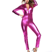 Buy Sexy Black Silvery Female Faux Leather Catsuit PVC Latex Bodysuit Zipper Open Crotch Stretch Clubwear Erotic Pole Dance Lingerie