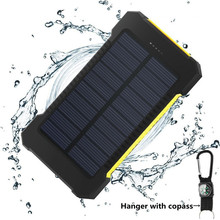 BYLYND Solar Power Bank Dual USB Power Bank 20000mAh Waterproof Powerbank Bateria External Portable Solar Panel with LED Light