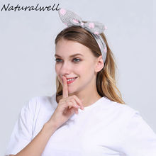 Naturalwell Cute Bunny Ear Dolly Bow Wire Headband Head Scarf Girls Knotted Head Wrap Hair Accessories women Headwear WH010