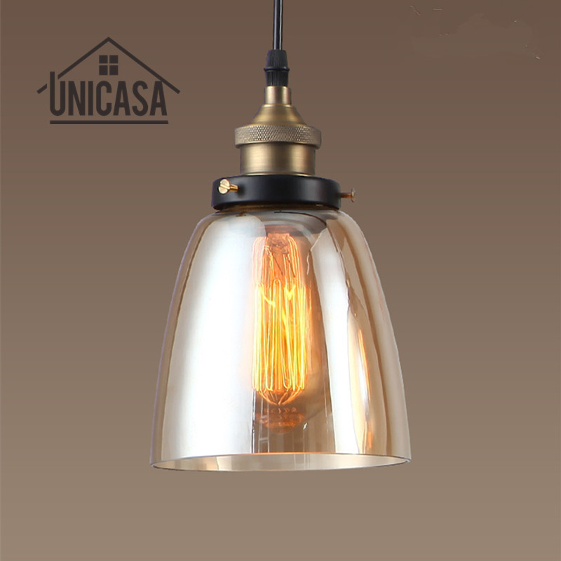 Amber Glass Shade Antique Pendant Lights Vintage Lighting Fixtures Kitchen Island Bar Hotel Mini LED Modern Pendant Ceiling Lamp<br>