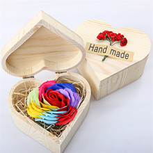 Handmade Heart-Shaped Rose Soap Flower Wooden Box Wedding Party Mother's Day Valentine Gift Artificial Flower Decor Eternal Love