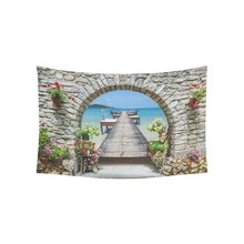 WARM TOUR Europe Beautiful Landscape Home Decor Wall Art, Italy Seaview Seascape Tapestry Wall Hanging Art Sets(China)