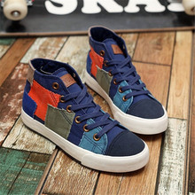 Ladies Casual Shoes collection 2017 Ladies 'canvas shoes Fashionable multi-colored vintage ladies' sneakers with high lacing of(China)