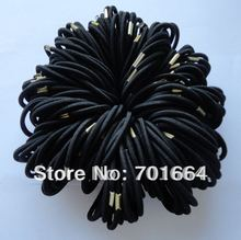 50PCS 4mm black elastic pony tail holders Hair bands with golden metal button connection Elastic hair ties(China)