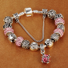 SPINNER Six square cube pink crystal dangle charms snake chain women bracelet fit original diy strand bracelet Jewelry(China)