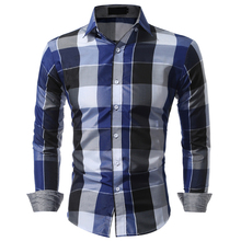 Brand Men's Clothing Blouses Plaid Shirt Fashion New Classic Hit Color Plaid Long-sleeved Shirt Camisa XC26(China)