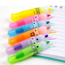 6PCS Mixed Color Boat Shape Fluorescent Pen Highlighter Marker Writing School Gift Cute Kawaii Office Accessory Store Stationary