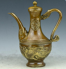 "SCY  426+++A brass copper antique teapot pot dragon  flagon eight copper kettle ""Home Furnishing crafts"