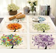 4Pcs/lot Printed Linen Placemat Place mat Table Mat Happy Tree polyester Dinner Coaster Home textile Dec wholesale FG674