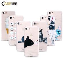 CASEIER Cat Phone Case For iPhone 7 8 Plus X 3D Relief Soft TPU Silicone Cover For iPhone 6 6s Plus Patterned funda Capinha Capa(China)