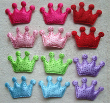 Wholesale bulk  lot  Multi colors glitter  crown patch, DIY Sewing hair accesory supplie girl favor holiday decoration 3x4cm