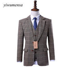 yiwumensa Wool Brown Tweed Custom Made Men suit Blazers Retro tailor made slim fit Skinny formal wedding suits for men 3 Pieces(China)