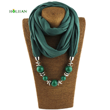 Fashion women scarf necklace beads pendent jewelry wrap bandana ethnic foulard lic winter female accessories 2017 rose green new(China)