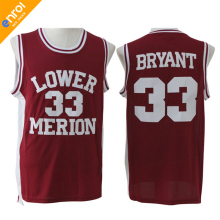 Throwback Basketball Jersey Kobe Bryant Jerseys High School Lower Merion 33# Red And White 2 Color Free Shipping(China)
