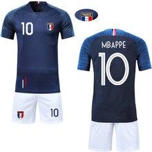 584f5f16156 SEXEMARA Children sportswear Soccer Short Sleeve 2018 France blue Clothes  man Jerseys Kids Football Shirts  Shorts