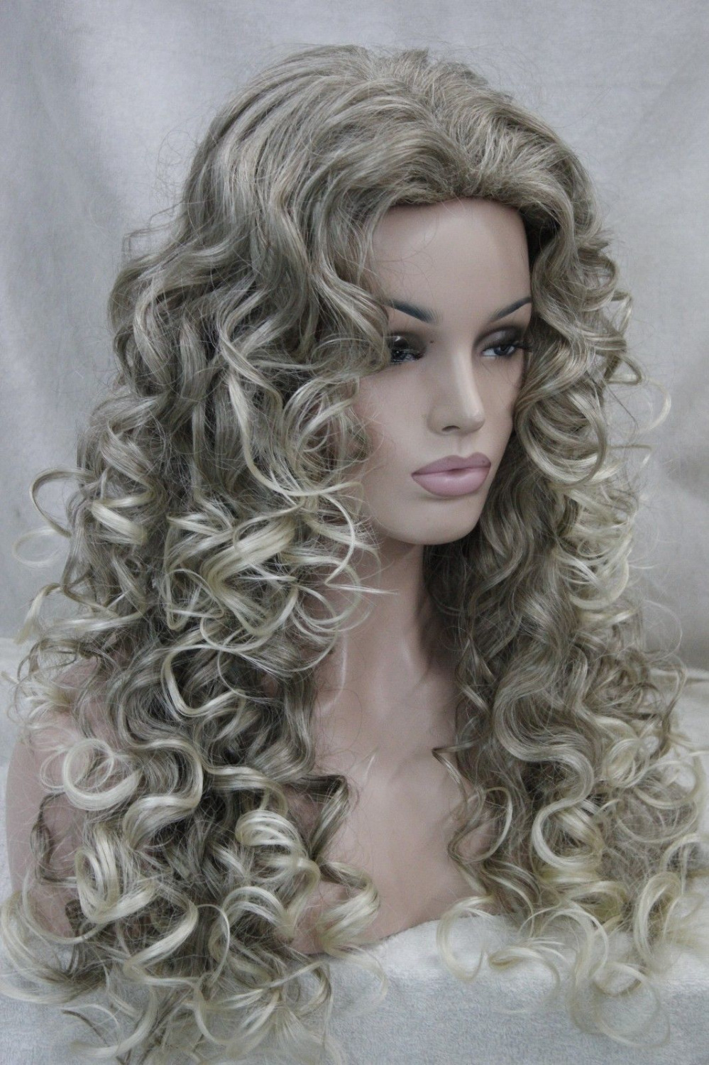 0002172 fashion sexy Dark Ash Blonde long curly womans full wig<br><br>Aliexpress