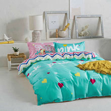 colorful hearts letters grass green linens 4pcs bedding sets cotton twin/single/double/queen size duvet cover set sheets sets