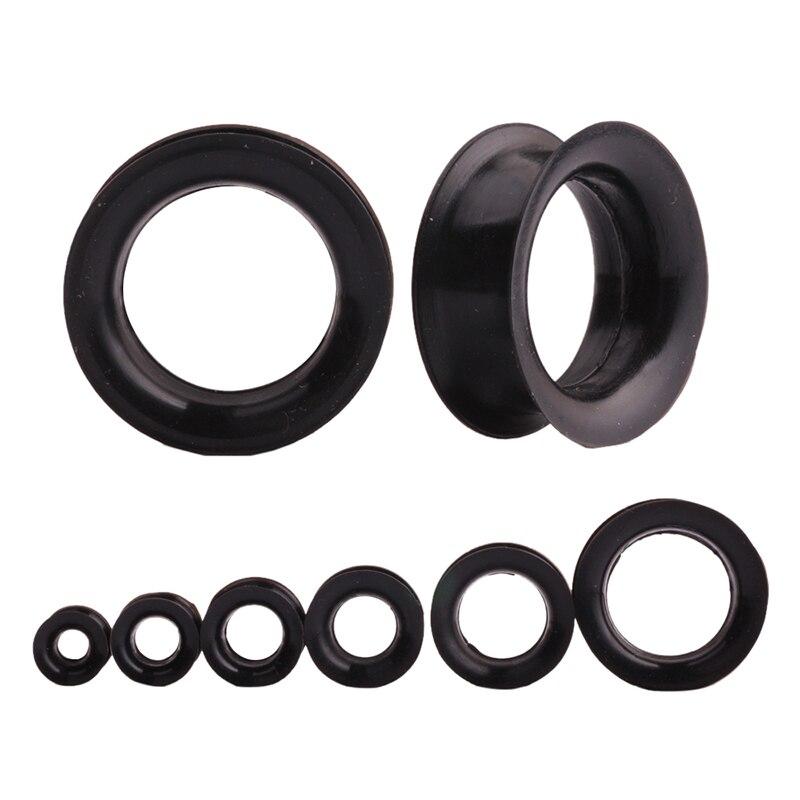 Plástico piercing oreja túnel black carbon Silver UV