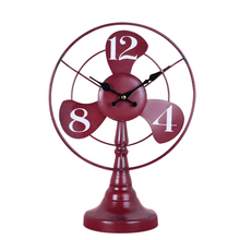Fashion loft wrought iron desk clock vintage living room wine cabinet home bedside electric fan modeling clock(China)