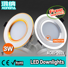 Free Shipping 3W LED Recessed Ceiling Lights SMD5730 LED + Driver AC85~265V Warm White/Cold White