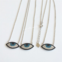 Starella 3pcs/lot Turquorsa 925 Sterling Silver Micro Pave Colored Cubic Zirconia Nano Turquoesa Turkey Evil Eye Necklace