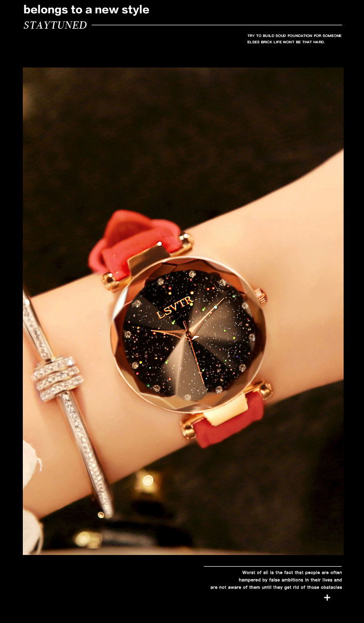 18 Luxury Brand Gogoey Women Watches Personality romantic starry sky Wrist Watch Leather Rhinestone Designer Ladies Red Clock 15