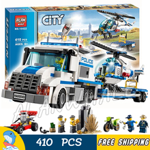410pcs City Police Helicopter Transporter New 10422 building blocks Figures Model Toys jail cell Compatible With lego