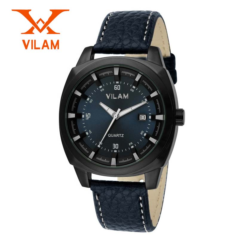 New Brand VILAM Waterproof Male Date Clock Men Casual Quartz Watch Men Wrist Military Sport Watch Leather<br><br>Aliexpress