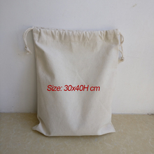 Wholesale 30x40H cm 200pcs/lot Natural canvas cotton drawstring shopping bags eco grocery cotton pouch custom printed logo tote(China)